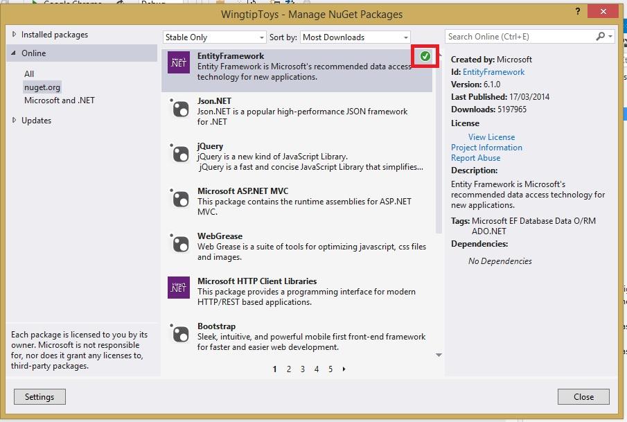 Figura 4 - Instalando Entity Framework via NuGet e PowerShell