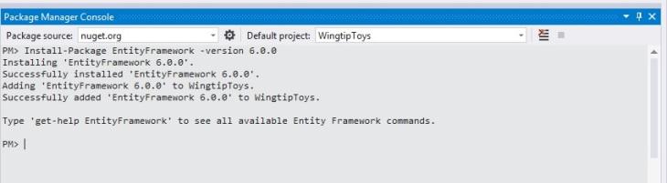 Figura 6 - Instalando Entity Framework via NuGet e PowerShell